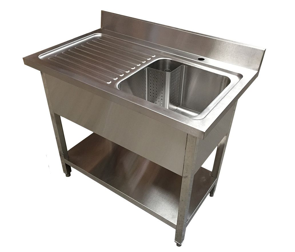 1.2 COMMERCIAL STAINLESS STEEL LHD SINGLE BOWL SINK - 600MM DEEP