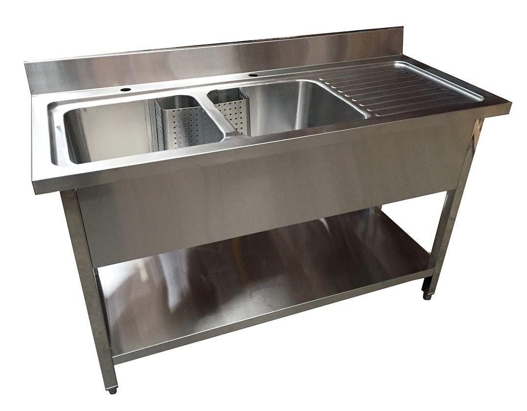 1.4M COMMERCIAL STAINLESS STEEL RHD DOUBLE BOWL SINK - 600 Series