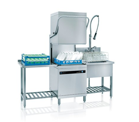 Meiko UPster H500S-AA Pass Through Dishwasher with In-Built Water Softener & AktivAir Exhaust Steam Hood