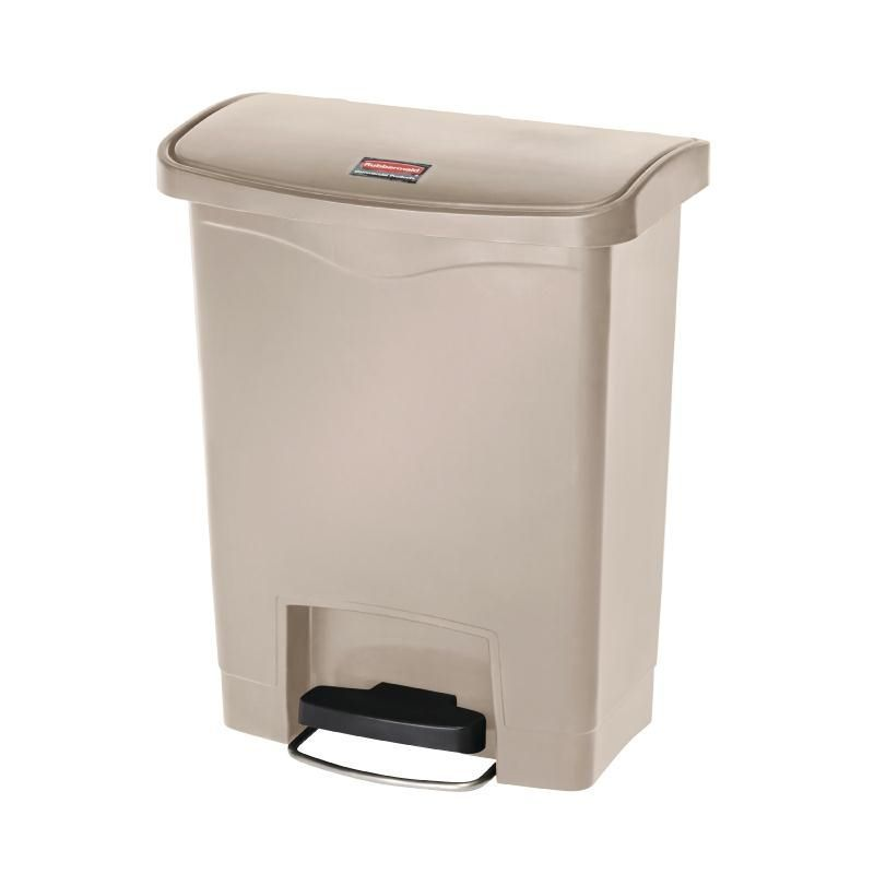 Rubbermaid Slim Jim Step on Front Pedal Beige 30Ltr